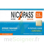 NICOPASS MENTHE FRAICHEUR 2,5 mg SANS SUCRE, pastille édulcorée à l'aspartam et à l'acésulfame potassique à Lesparre-Médoc