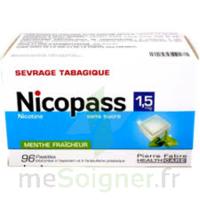 NICOPASS 1,5 mg Past sans sucre menthe fraîcheur Plq/96 à Lesparre-Médoc